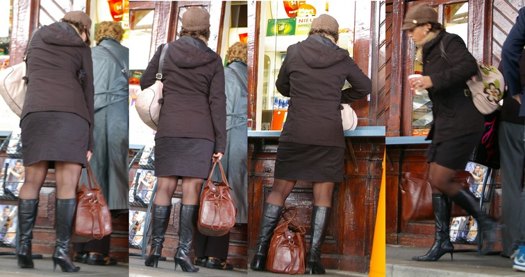 23: boots candid legs mature pantyhose skirt woman - Johnny_Kaspar