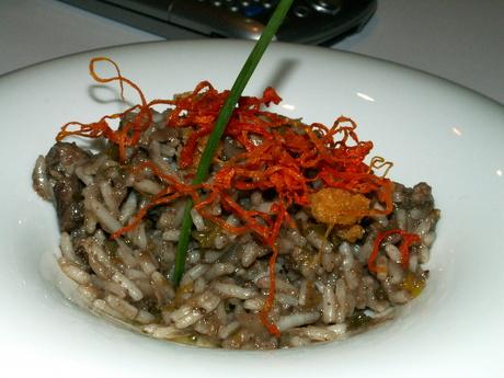 Falso Risoto de arroz Basmati con Lamprea polo Chef Rivera no Forum Gastronómico de Santiago de Compostela