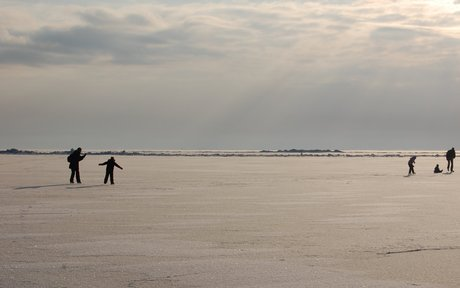 Isen pakker på Ringkøbing Fjord.
