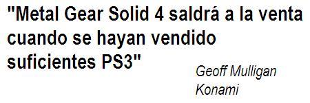 Konami quiere que le enseñen la pasta con Metal Gear Solid 4